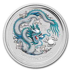 2012 1oz Silver Lunar DRAGON - COLOURED ANA Fair